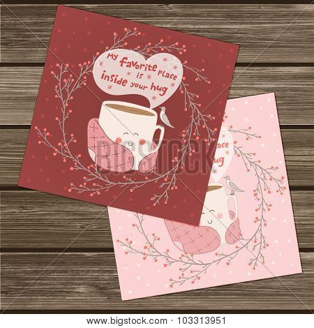 Holiday card with cute cup of tea
