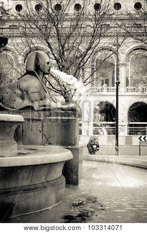 Sphinx Sculpture In The Fountain In Place Du Chatelet, Paris.