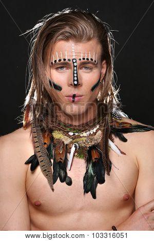 Portrait of Caucasian Man With Native Attire