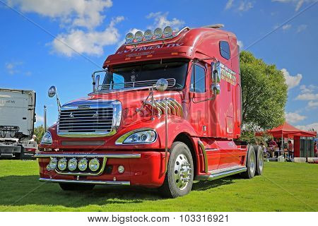 Red Freightliner Truck Tractor On Display