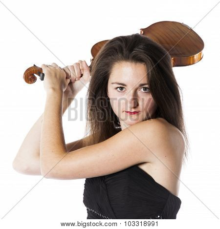 Brunette With Violin In Studio Looks On The Verge Of Hitting