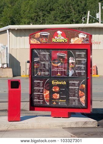 Robin's Donuts Menu Sign