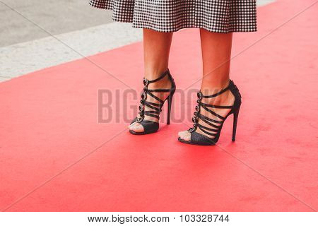 Detail Of Shoes Outside Laura Biagiotti Fashion Show Building In Milan, Italy