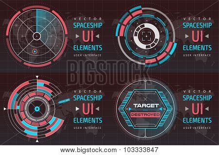 UI hud infographic interface screen monitor radar set web elements