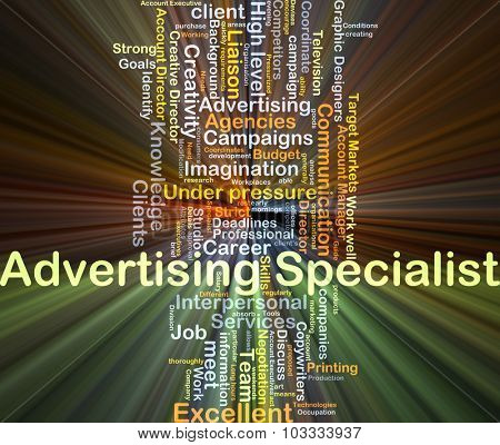 Background concept wordcloud illustration of advertising specialist glowing light