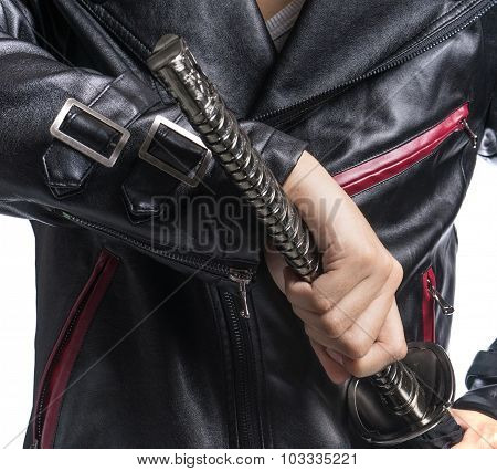 Man Hand Holding Samurai Sword On White Background, Leather Jacket