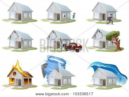 Home insurance. Property insurance. Big set house insurance