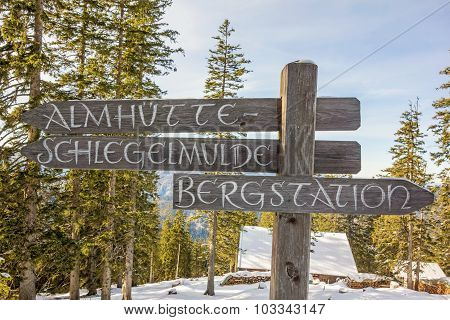 Signpost In The Mountains