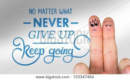Sad fingers against suicide prevention message