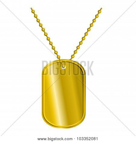Golden Badge Soldier. Army Medallion For Rich Of Precious Metal. Pure Military Pendant On Chain. Lux
