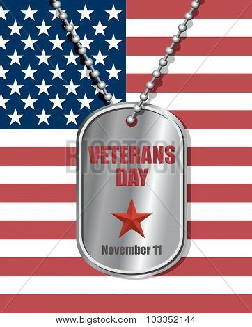Soldiers badge on background of United States flag. Veterans day engraved on Medallion. National holiday in America. Patriotic illustration. poster