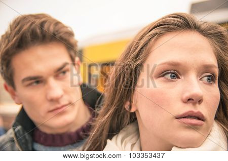 Couple During Break Up - Sad Young Woman