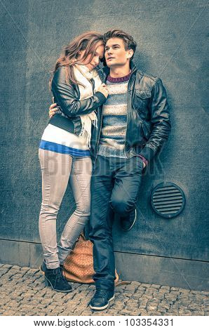 Modern Fashion Hipster Couple Of Young Lovers With Autumn Clothes Ready For The Upcoming Winter