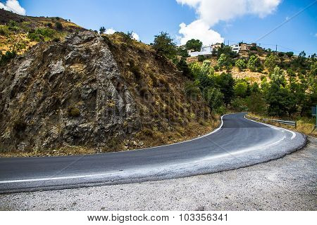 Curvy Mountain Road In Mediterranean Mountains,