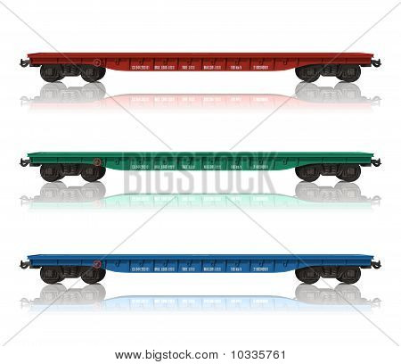 Set of railroad flatcars