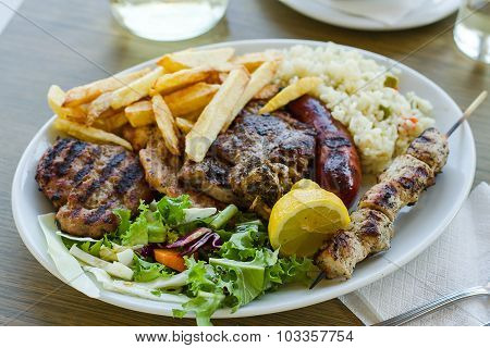 Mix Meat Plate With French Fries