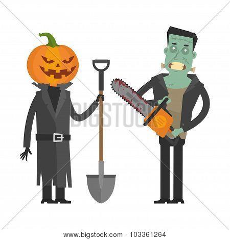 Characters Pumpkin and Frankenstein