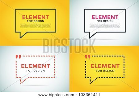 Quote blank template. Quote bubble. Empty template. Quote design, quoting box, text sign reference, paper information template. Quote form. Bubble template vector set. White yellow quote blank icon