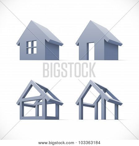 Set of abstract houses icons