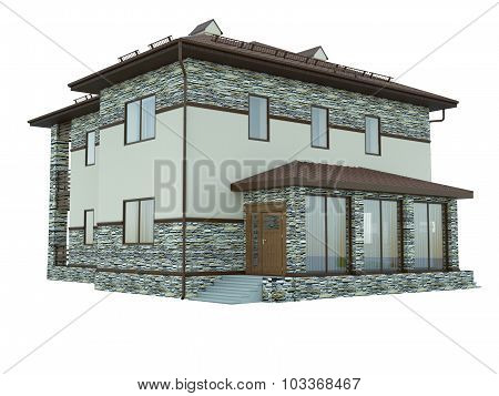 3D Rendering Of A Country House