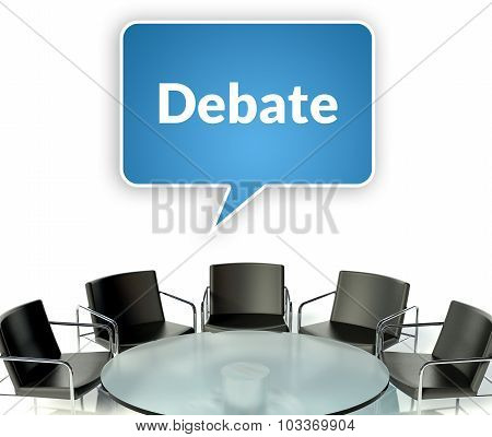 Debate business concept workplace for negotiations with table and armchairs poster