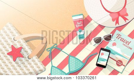 Fashion Beach Accessories On The Sand