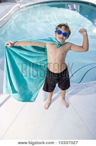 Boy Superhero Protecting The Pool