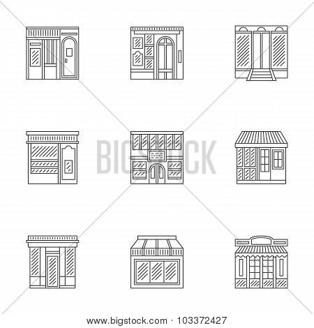 Storefronts linear icons vector collection