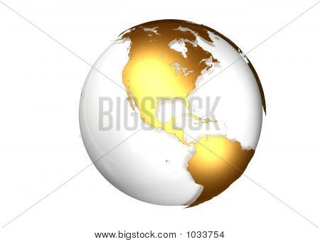 Golden Globe With View North And South America