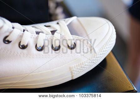 Closeup Fashionable Sneakers On Shop Shelf