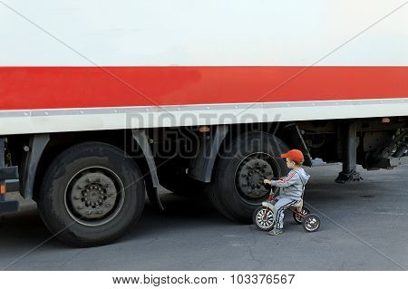 child on the roadway