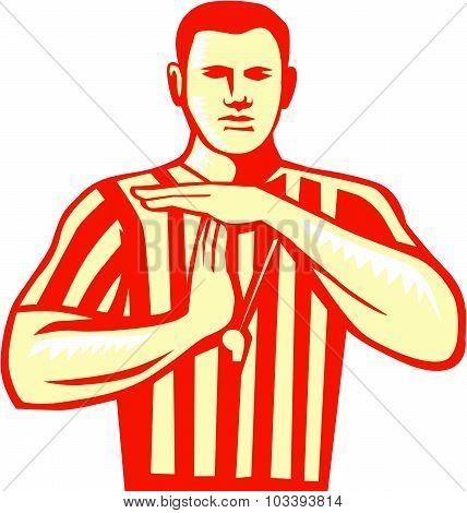 Basketball Referee Technical Foul Retro