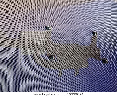 abstract white metallic surface with holes industrial grid fastening concept poster