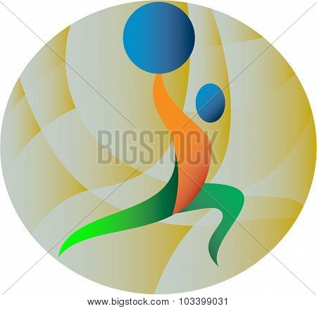 Illustration of a weightlifter lifting weights viewed from the side set inside circle done in retro style. poster