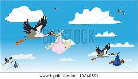 Storks With Children