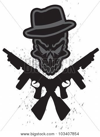 A gangster tattoo like skull with guns. poster