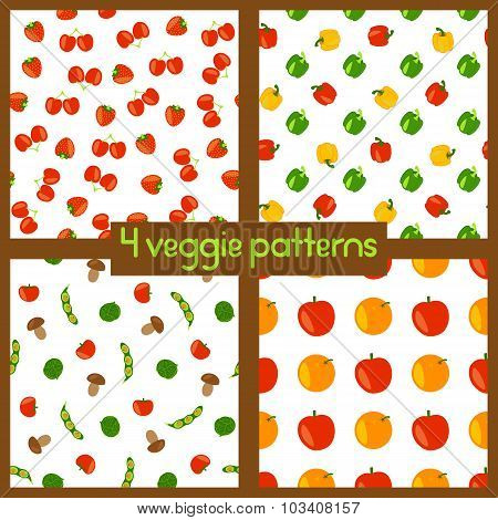 Vegetarian seamless patterns. Healthy lifestyle. Veggie backgrounds with fruits, vegetables, berries and mushrooms. Vector color illustration. poster