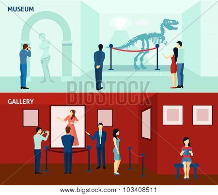 Museum visitors 2 flat banners poster