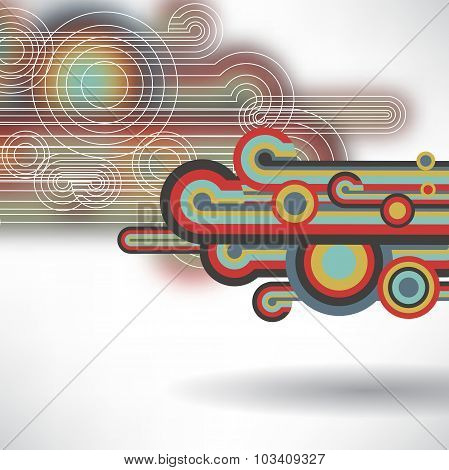 Abstract backgroun of colorful circles and lines with space for