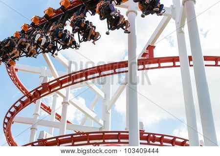 pathumtanee thailand - september 26: Unidentified people play roller coaster at amusement dreamwold