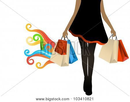 woman shopping bags in hand coil flames multicolored for hot deals  great finds