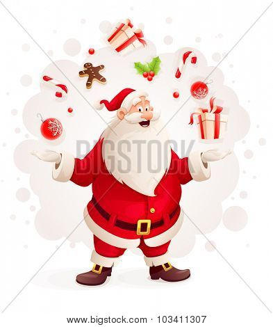 Merry Santa Claus juggles with Christmas gifts and sweets as magician. vector illustration. Isolated on white background. Transparent objects used for lights and shadows drawing.