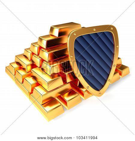 Gold bars and shield