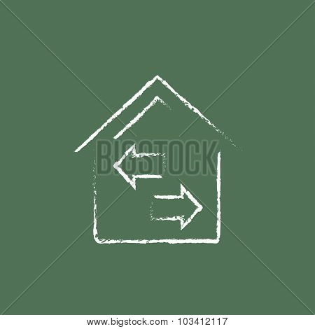 Property resale hand drawn in chalk on a blackboard vector white icon isolated on a green background.