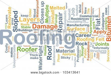 Background concept wordcloud illustration of roofing