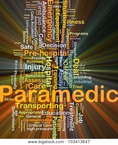 Background concept wordcloud illustration of paramedic glowing light poster