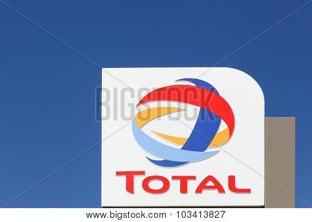 Total logo on a pole