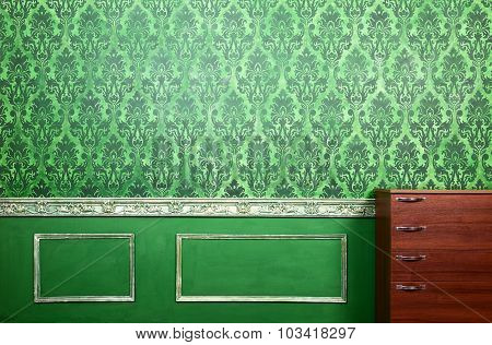 Interior Of Green Room With Rococo Elements
