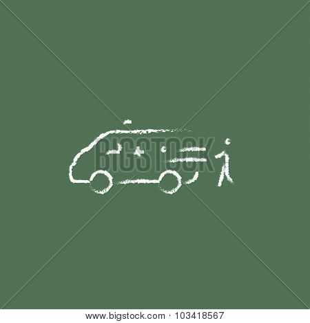 Man with patient and ambulance car hand drawn in chalk on a blackboard vector white icon isolated on a green background.