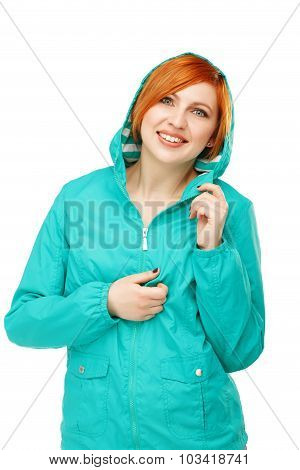 Portrait Of A Young Beautiful Girl In A Jacket With A Hood Isolated On White Background